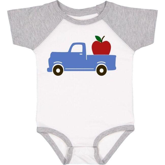 Apple Truck S/S Bodysuit, White/Heather