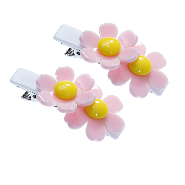 Double Daisy Alligator Clips, Light Pink and White