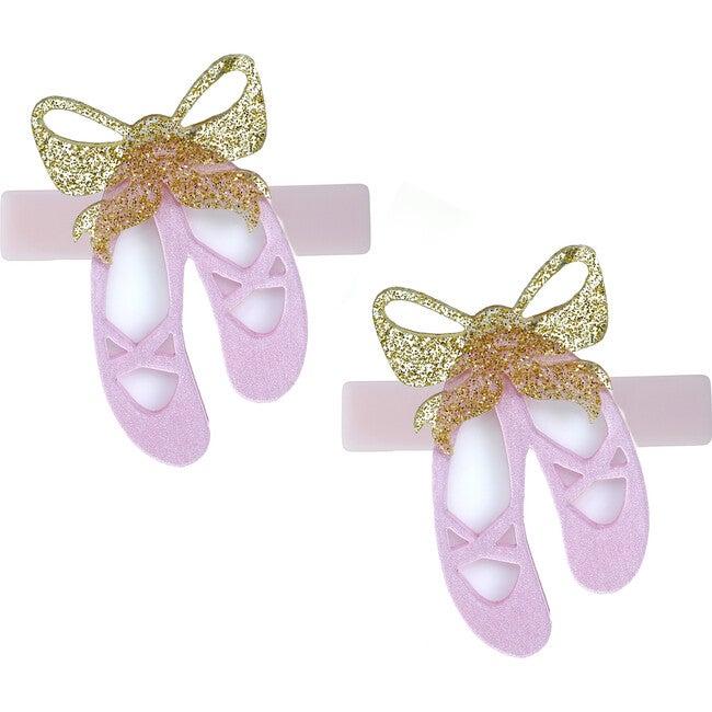 Ballet Slipper Satin Pink Alligator Clip