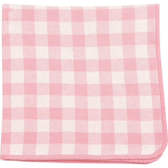 Knit Blanket, Pink Gingham
