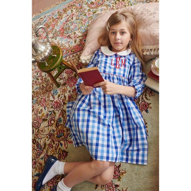 Long Sleeve Peter Pan Dress, Sapphire Check
