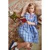 Long Sleeve Peter Pan Dress, Sapphire Check - Dresses - 2