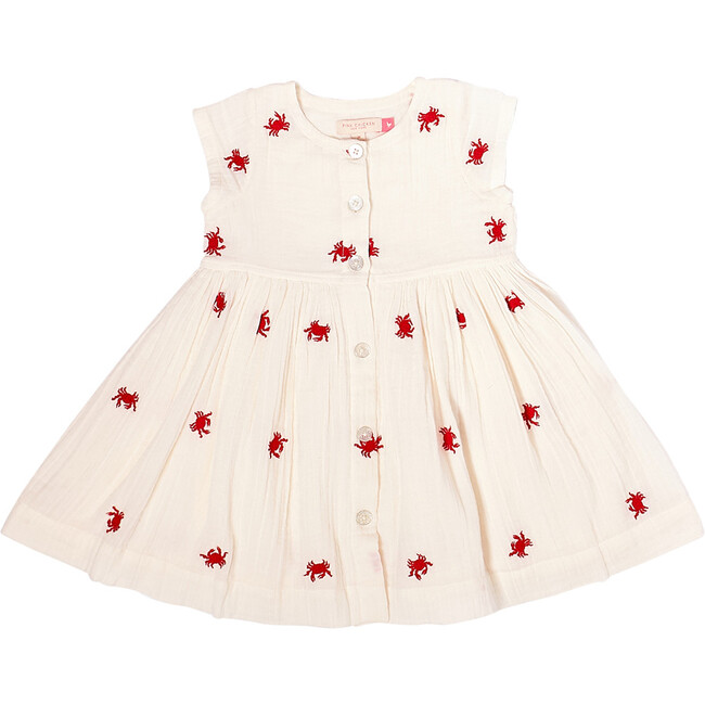 Winnie Dress, Antique White & Crabs Embroidery
