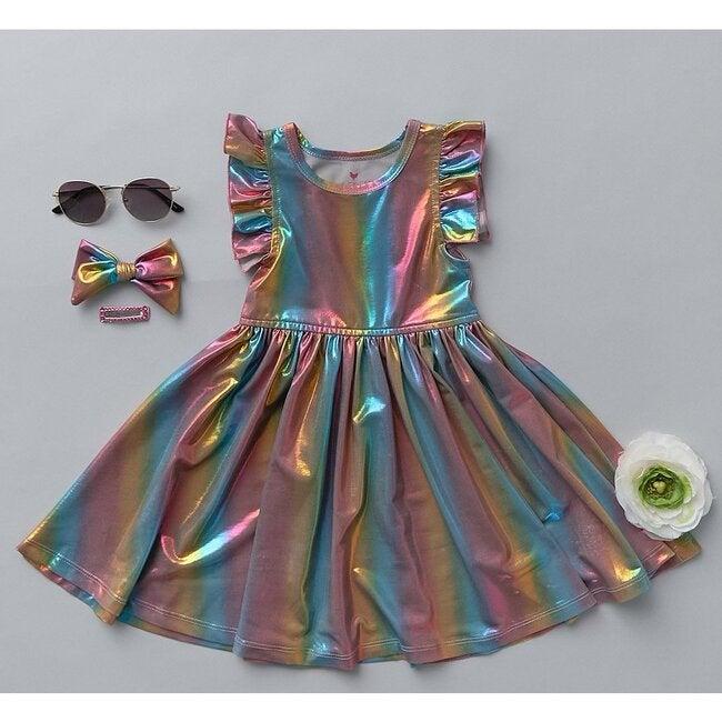 Ruffle Steph Dress, Iridescent Rainbows