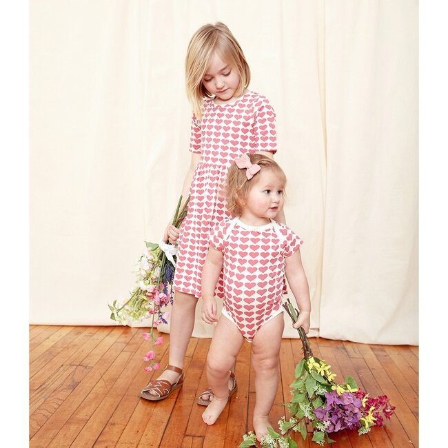 Organic Bodysuit, Rapture Rose Hearts