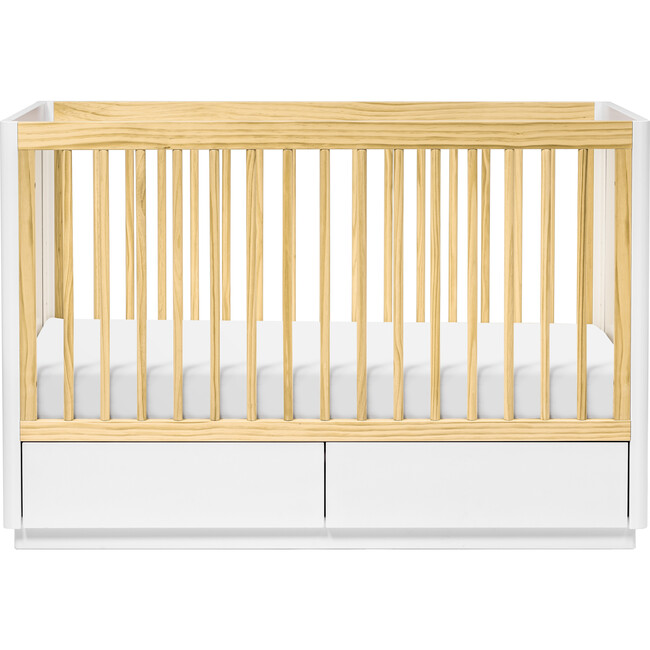 Bento 3-in-1 Convertible Storage Crib with Toddler Bed Conversion Kit, Natural/White
