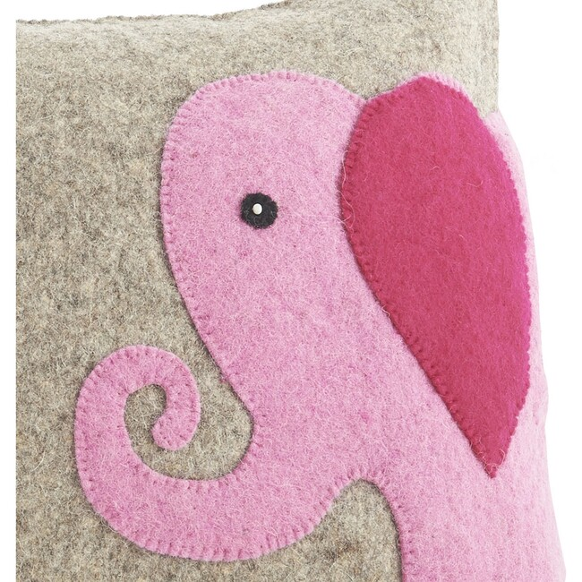 Handmade Pillow in Hand Felted Wool, Pink Elephant