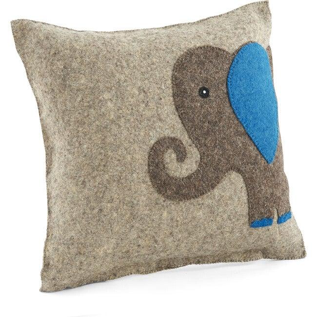 Handmade Pillow in Hand Felted Wool, Blue Elephant