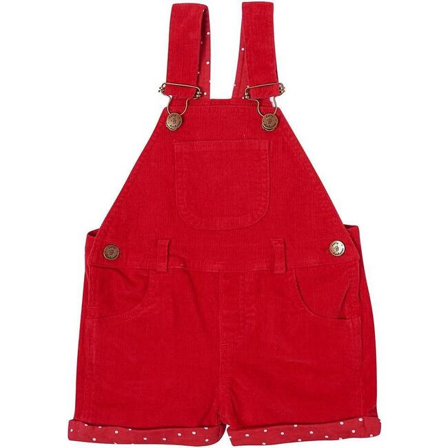 Corduroy Short Overalls, Red - Overalls - 1