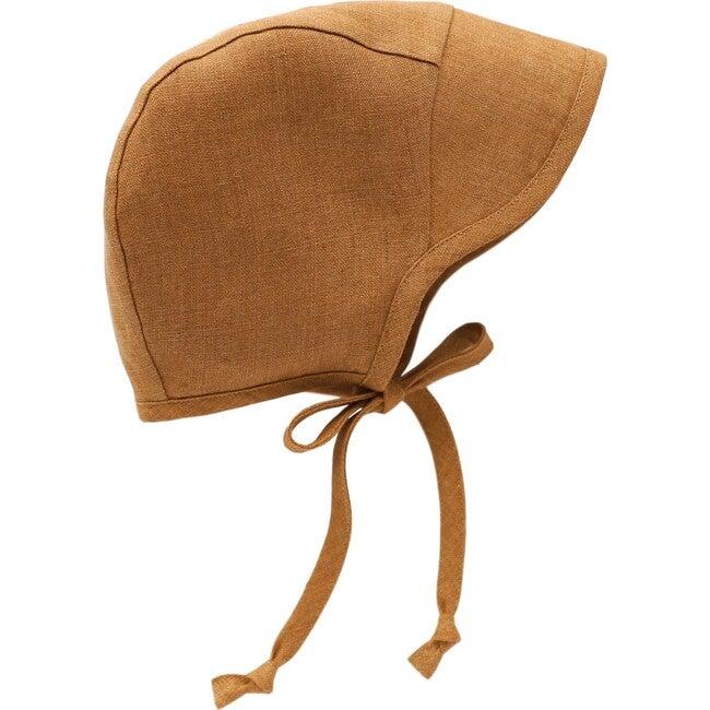 Brimmed Rust Linen Bonnet