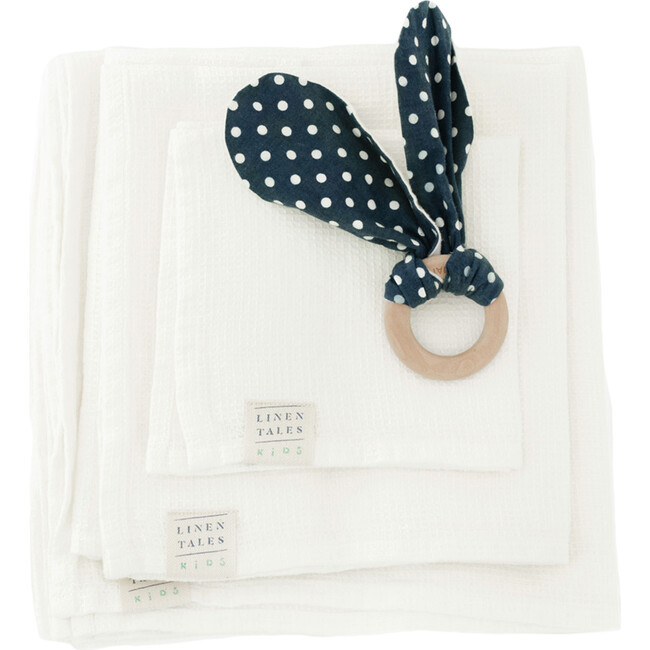 Linen Waffle Towel, White