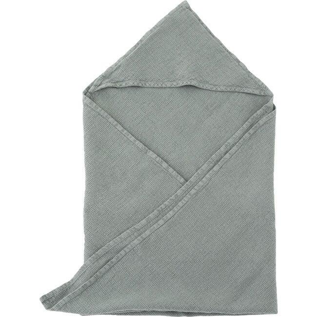 Linen Hooded Towel, Blue Fog