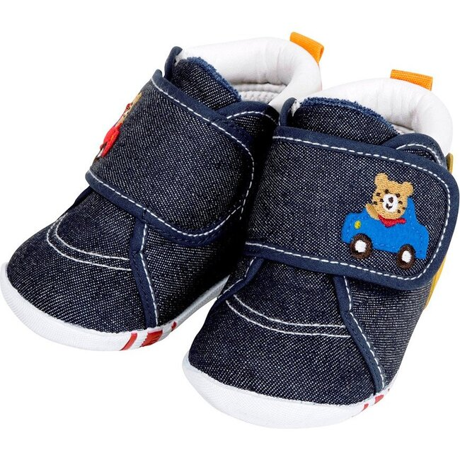 Smiley Bear First Walking Shoes, Navy