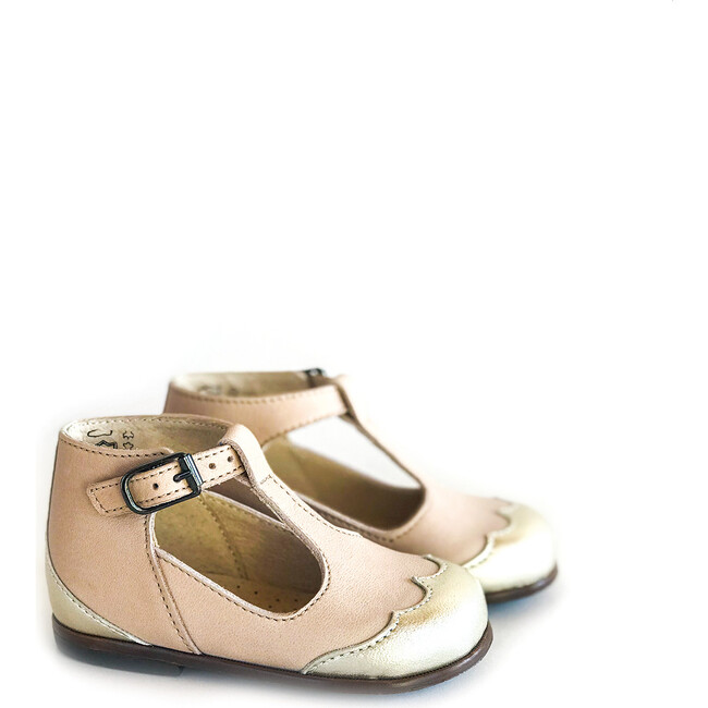 Dione T-Strap, Nude with Metal