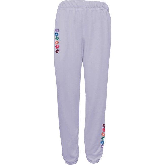 Women's Flower Power Sweatpants, Blue Lavender