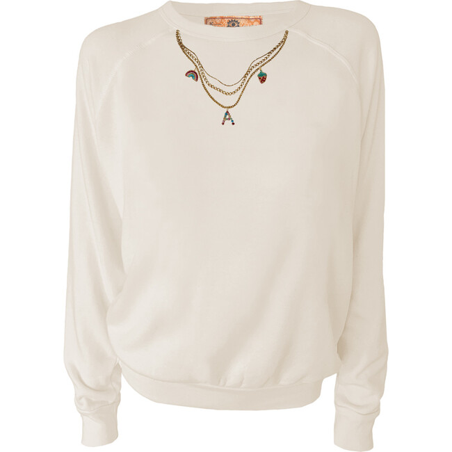 Women's Monogrammable Charm Necklace Pullover, Natural