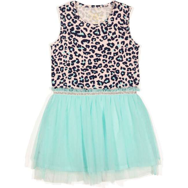 Kaia Dress, Leopard Print and Aqua