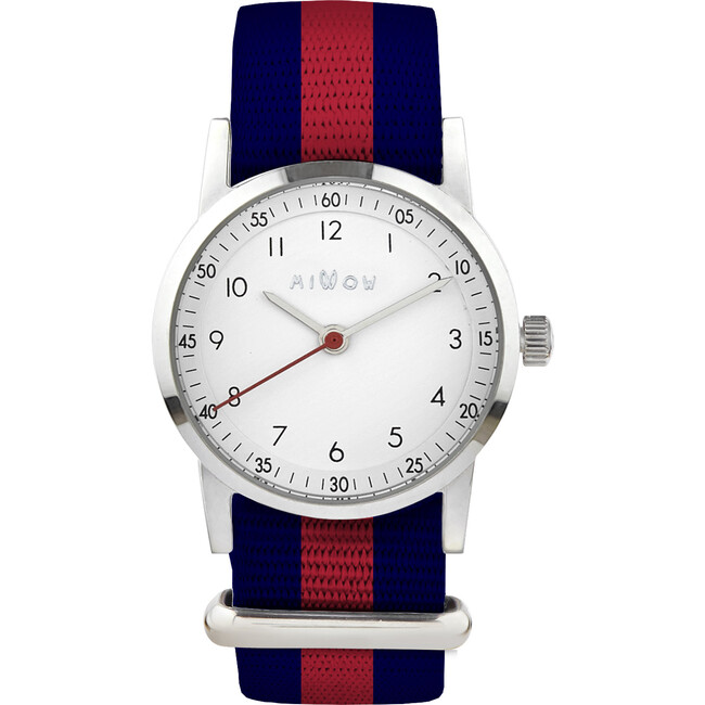 Millow Classic Watch, Red, Navy, and Silver