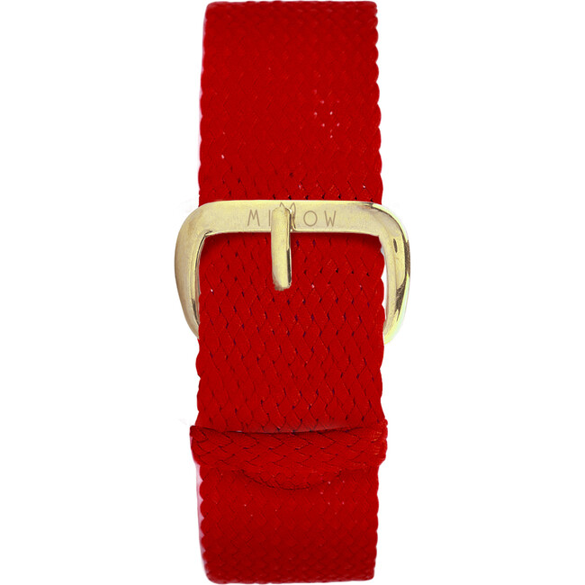 Braided Nylon Watch Band, Red and Gold