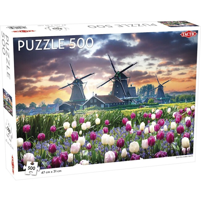 Old Mills and Tulips 500-Piece Puzzle