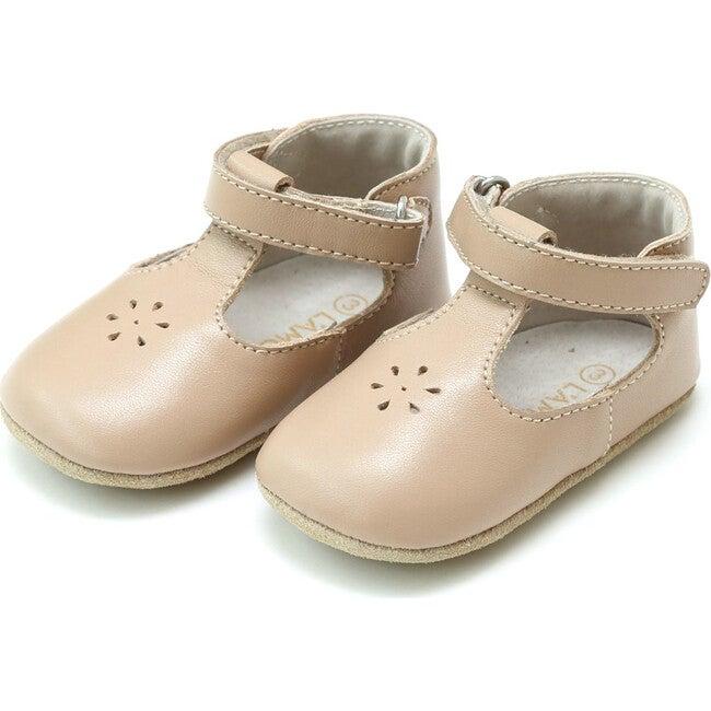 Lisette T-Strap Mary Jane Crib Shoe, Latte - Booties - 1