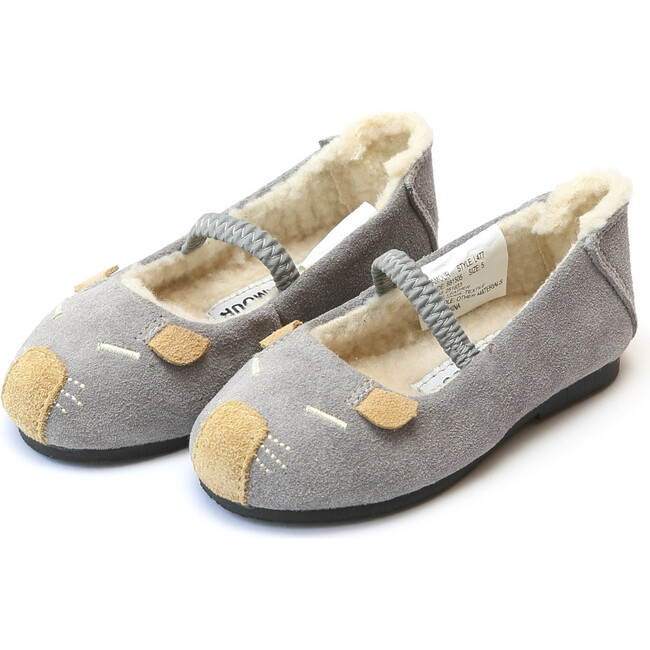 Mousie Leather Flat, Grey