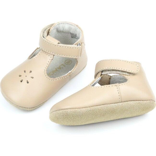 Lisette T-Strap Mary Jane Crib Shoe, Latte