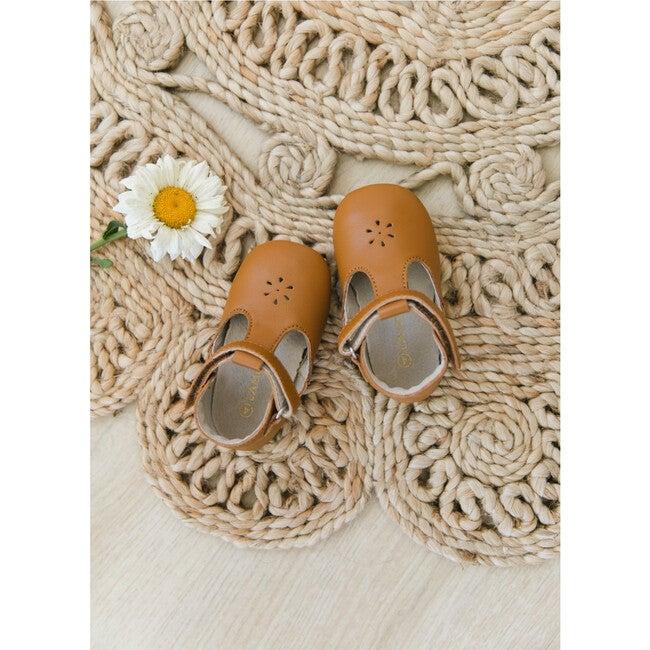 Lisette T-Strap Mary Jane Crib Shoe, Caramel