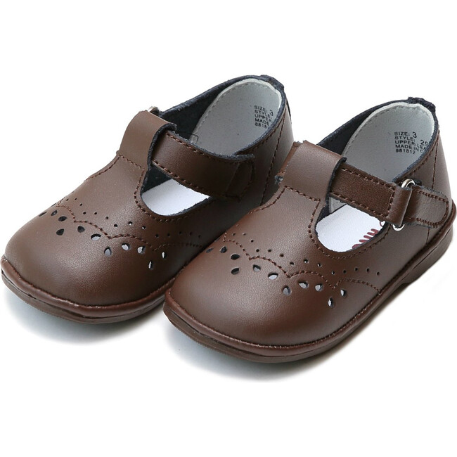 Baby Birdie Leather T-Strap Stitched Mary Jane, Brown