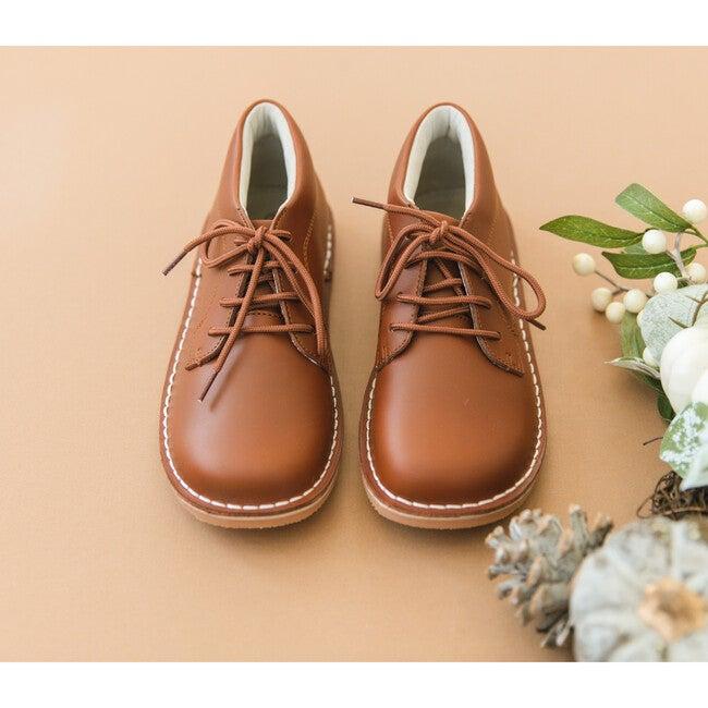 Tuck Mid-Top Lace Up Shoe, Cognac