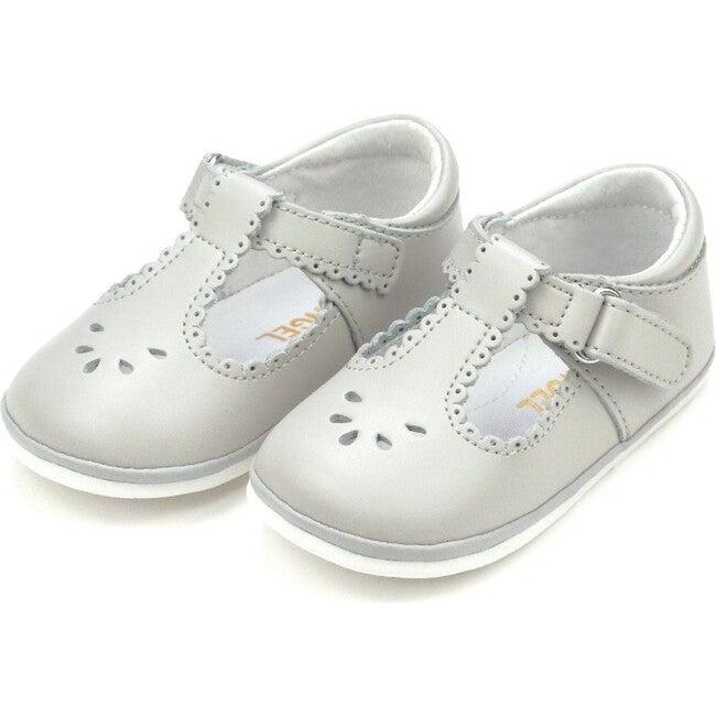 Baby Dottie Scalloped T-Strap Mary Jane, Grey