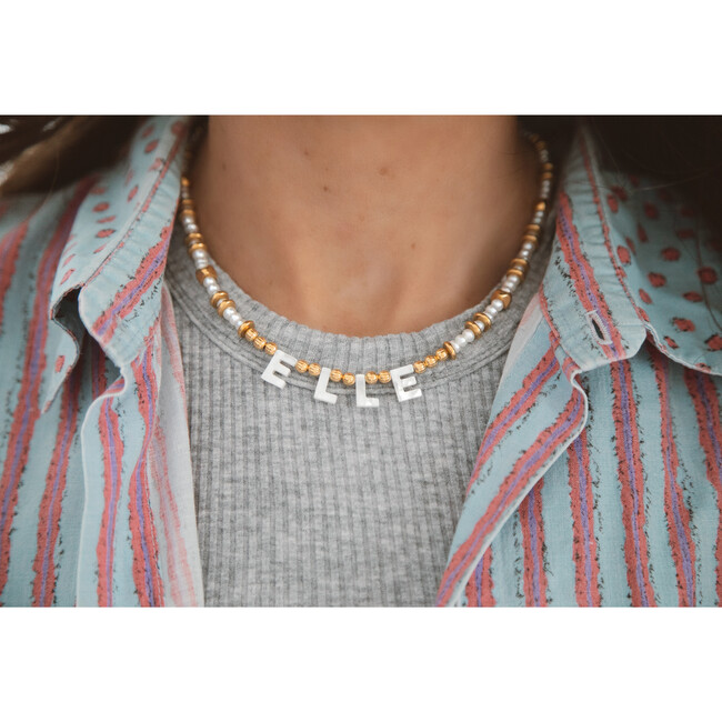 Monogrammable Say My Name Necklace, Pearl/Gold