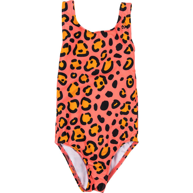 Girls Calico Crab Swimsuit, Salmon