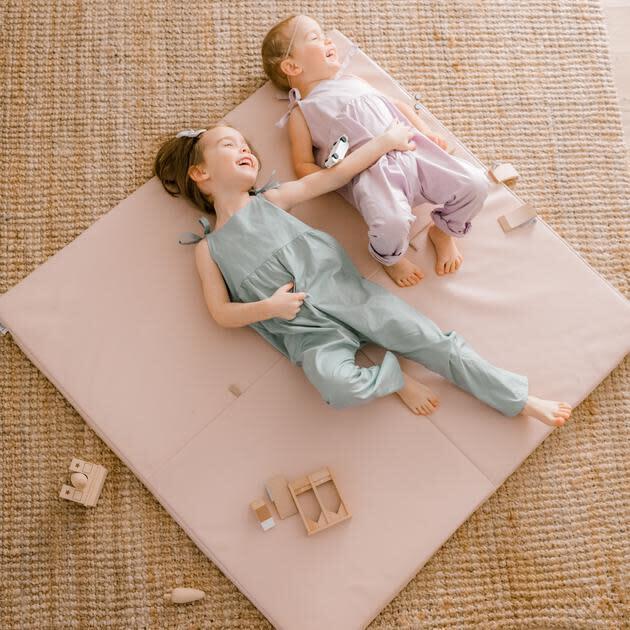 Vegan Leather Padded Everywhere Playmat, Petal