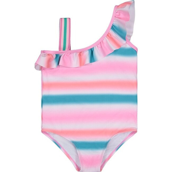 UPF 50 Girls Ombre Stripe One-Shoulder Swimsuit, Aqua