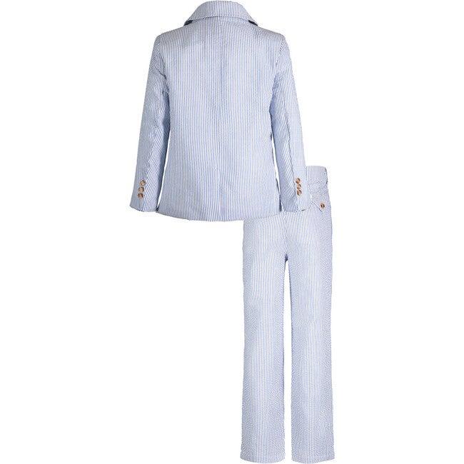 Two-Piece Suit Set, Blue Seersucker