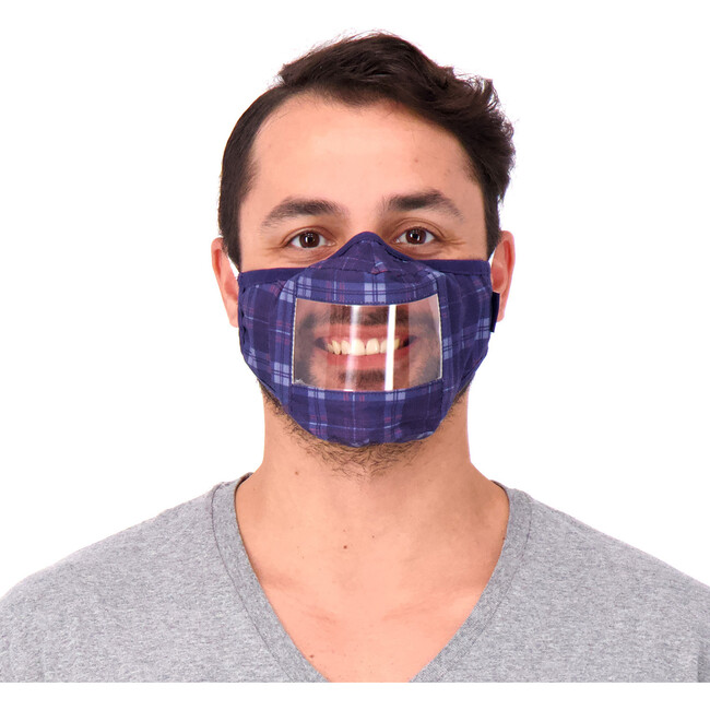 Adult 3-Pack Peek-Through Masks, Navy Plaid
