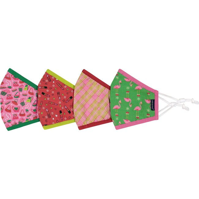 4-Pack Youth Holiday Face Masks, Christmas Accessories
