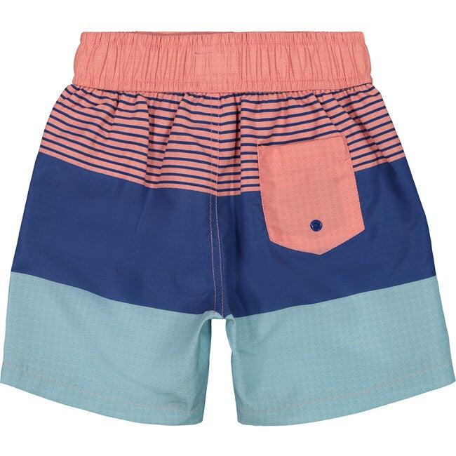 Colorblocked Swim Trunk, Coral Stripe