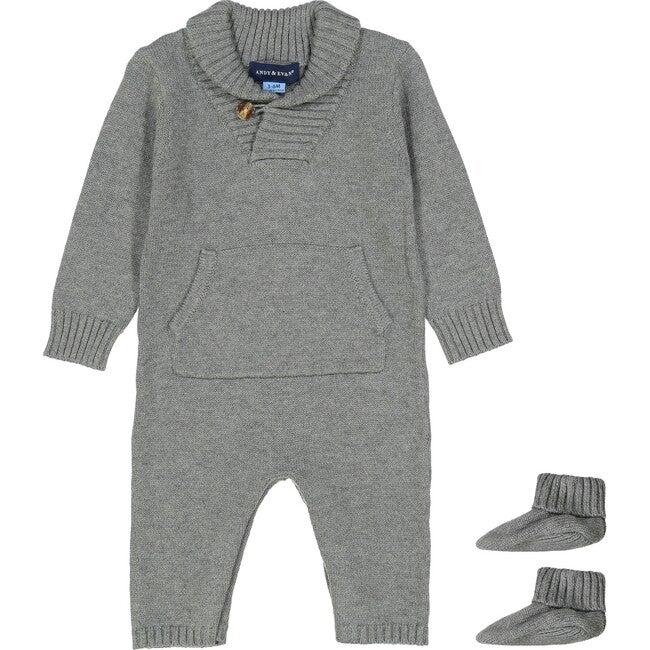 Shawl Collar Onesie & Booties, Grey & Blue