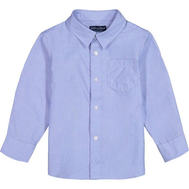 Woven Button Down Shirt, Medium Blue