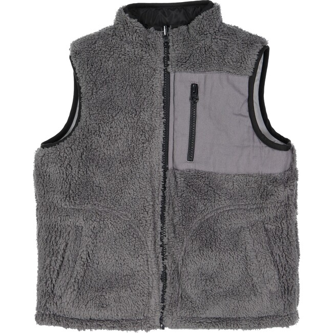 Reversible Puffer Vest, Charcoal