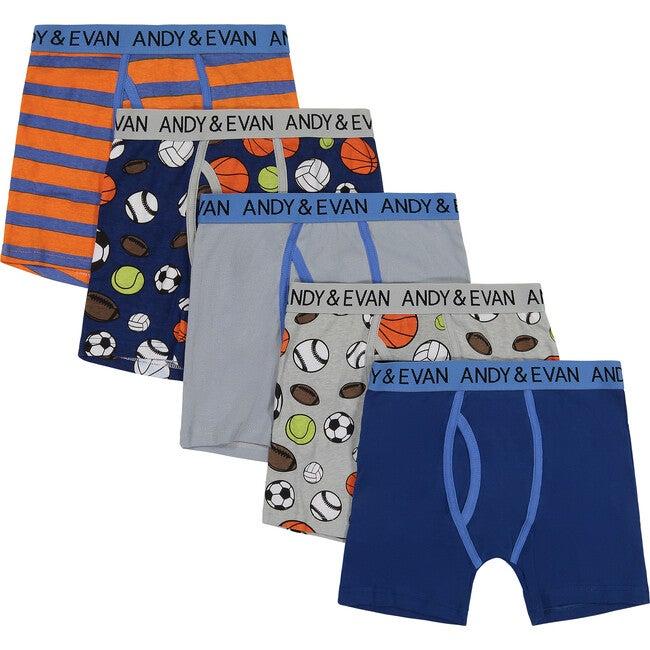 Boys Five Pack Boxer Briefs - Sports Pack, Orange