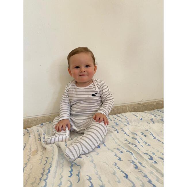 Pima Onesie, Gray Stripes