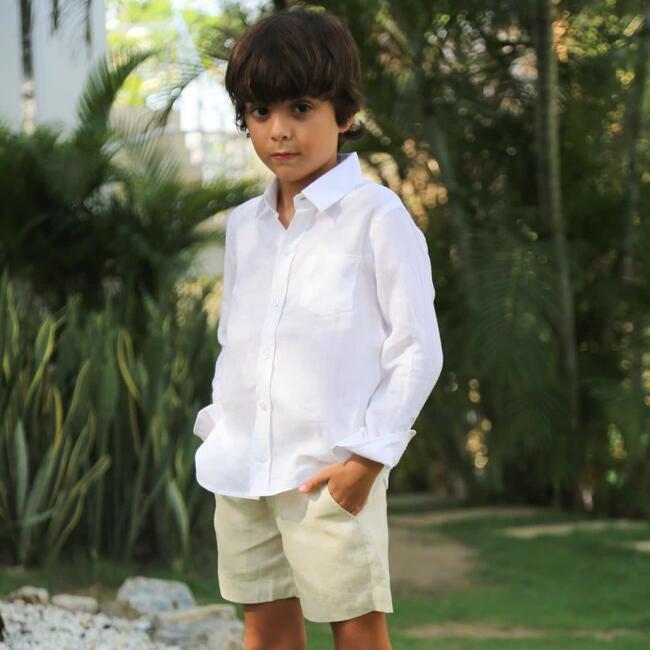 Linen Boy Shorts, Oatmeal