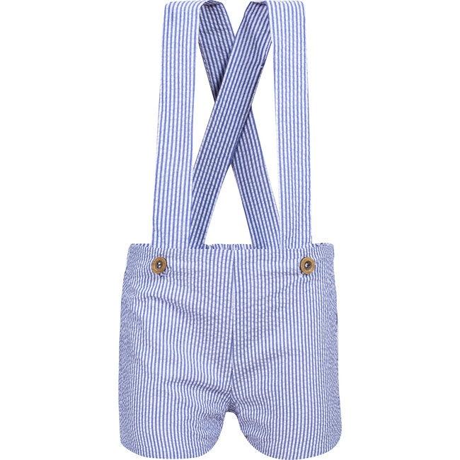 Marcel Suspeder Boy Shorts, Navy Stripes