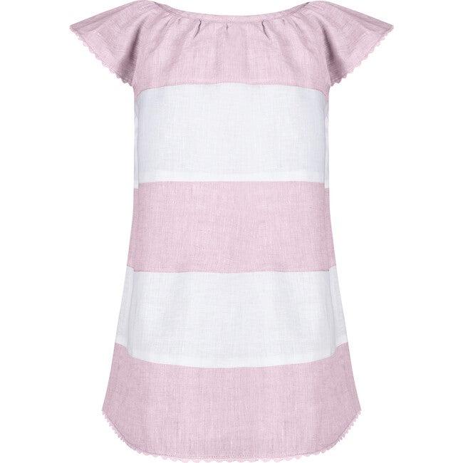 Madeline Girls Dress, Pink & White