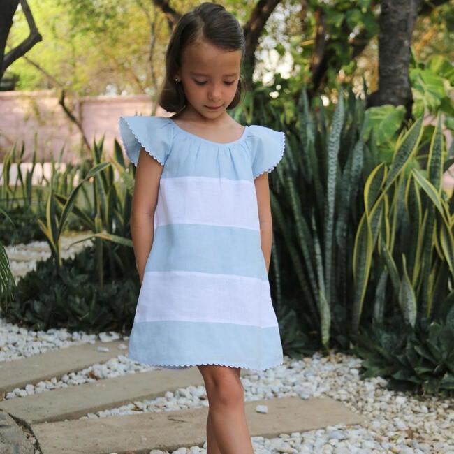 Madeline Girls Dress, Baby Blue & White