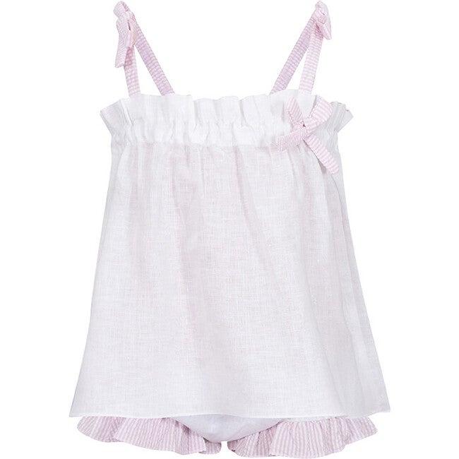 Chloe Set, White/Pink Stripes