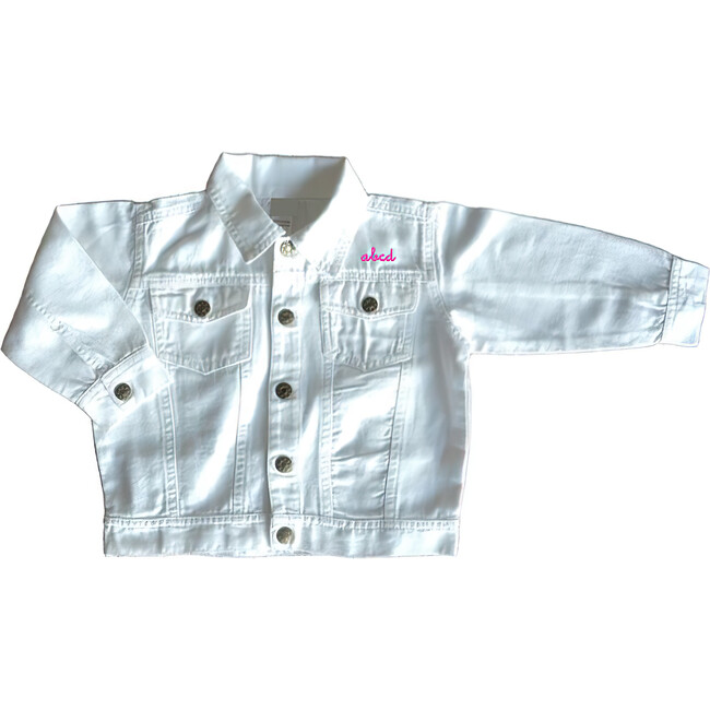 Little Kid Front Embroidery Denim Jacket, White - Jackets - 1